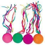 Goki Vollgummiball mit Neonfarbenen Schleifen 4 Stück