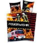 Herding Kinder- Wendebettwäsche Notruf Feuerwehr Renforcé 135 x 200 cm
