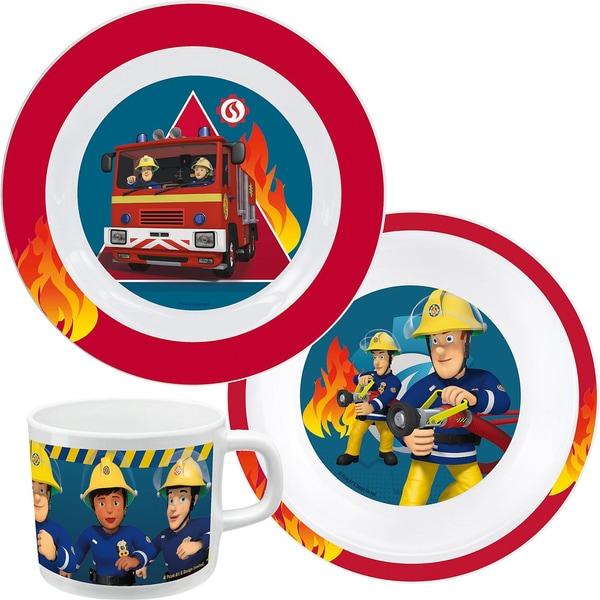 P:OS Kindergeschirr Melamin Feuerwehrmann Sam 3-tlg.