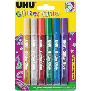Uhu Glitter Kleber Dunkel 6 Farben