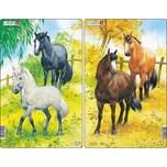 Larsen 3er-Set Rahmen-Puzzle 10 Teile 28x18 cm Pferde
