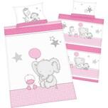Herding Kinder-Wendebettwäsche Jana Elefant Renforcé rosa 100 x 135 40 x 60 cm