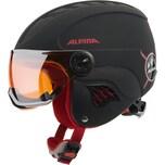 Alpina Skihelm Carat LE Visor HM black-red matt