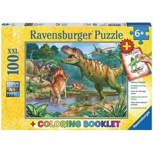 Ravensburger 2-tlg. Puzzle Malbuch Set 100 Teile XXL 49x36 cm Welt der Dinosaurier