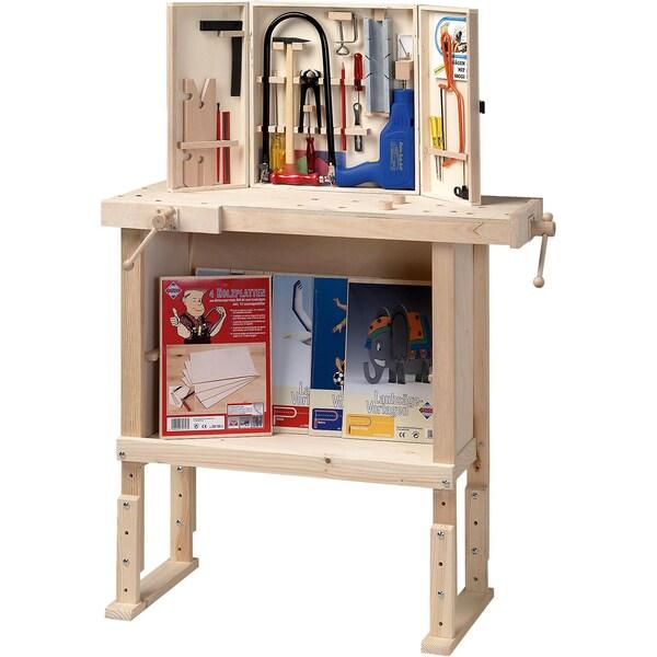 Pebaro Kinderwerkbank aus Holz höhenverstellbar