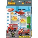 Hama Perlen 3441 Geschenkset Feuerwehr 2.000 Midi-Perlen Zubehör