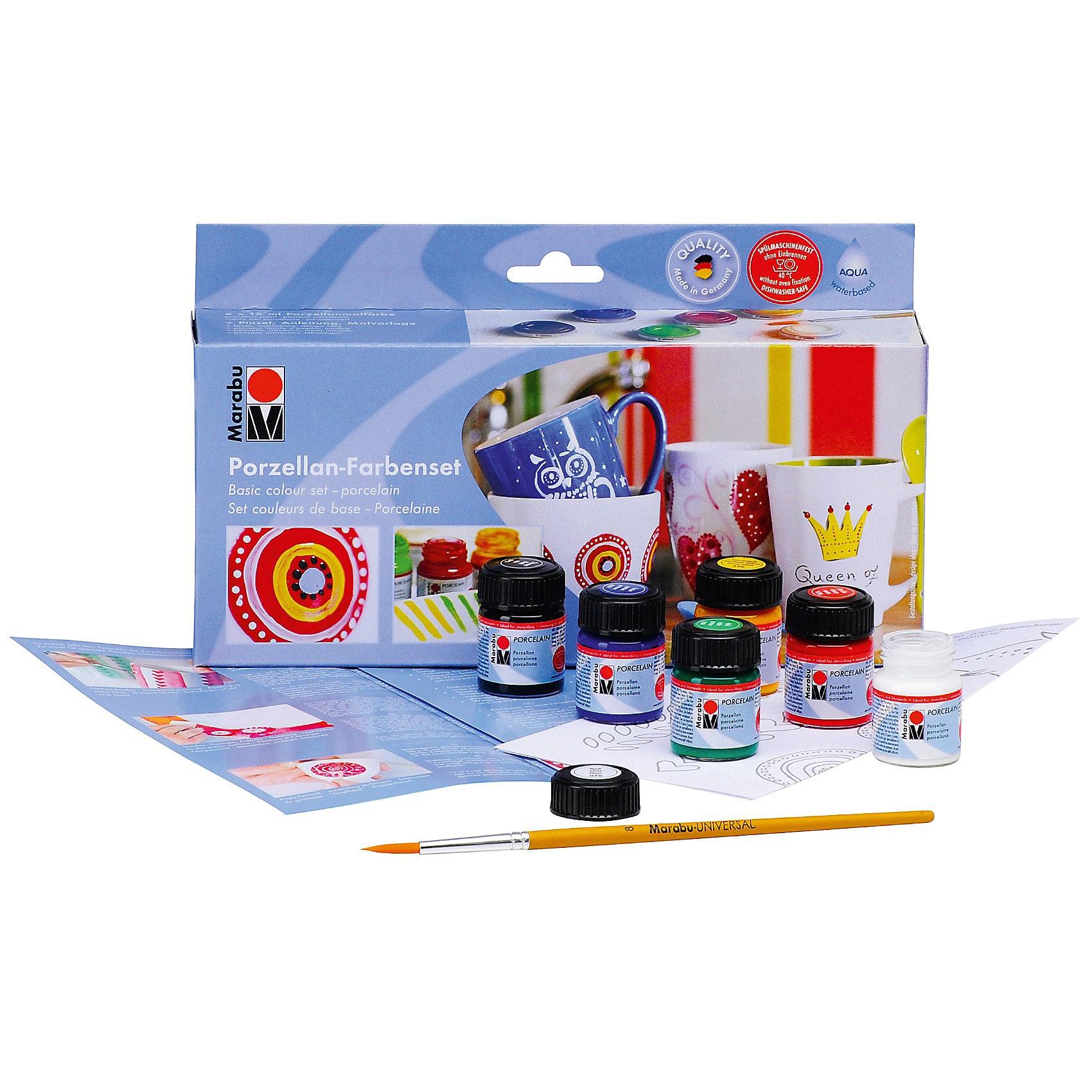 Marabu Starterset Porzellanfarbe 6 x 15 ml Pinsel