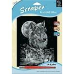 Mammut Spiel und Geschenk Kratzbild Scraper Wölfe silber