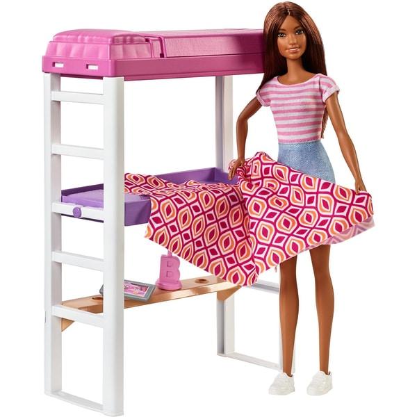 Mattel Barbie Deluxe-Set Möbel Hochbett mit Schreibtisch Puppe