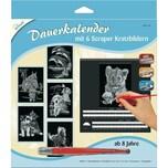 Mammut Spiel Und Geschenk Dauerkalender mit 6 Kratzbildern Silber Tiere 1