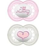 Mam Schnuller Original Silikon Gr. 2 I Love Mummy pink 2er Pack