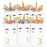 Adventskalender Geschenktüten-Set Einhörner mit Blumen - weiße Tüten