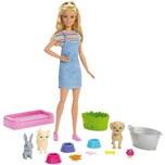 Mattel Barbie Badespaß Spielset Tiere und Puppe blond Anziehpuppe Modepuppe