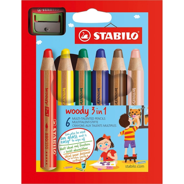 Stabilo Buntstifte woody 3 in 1 inkl. Spitzer 6 Farben