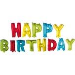 Procos Folienballon mit Schriftzug HAPPY BIRTHDAY inkl. Papierhalm zum Aufblasen bunt