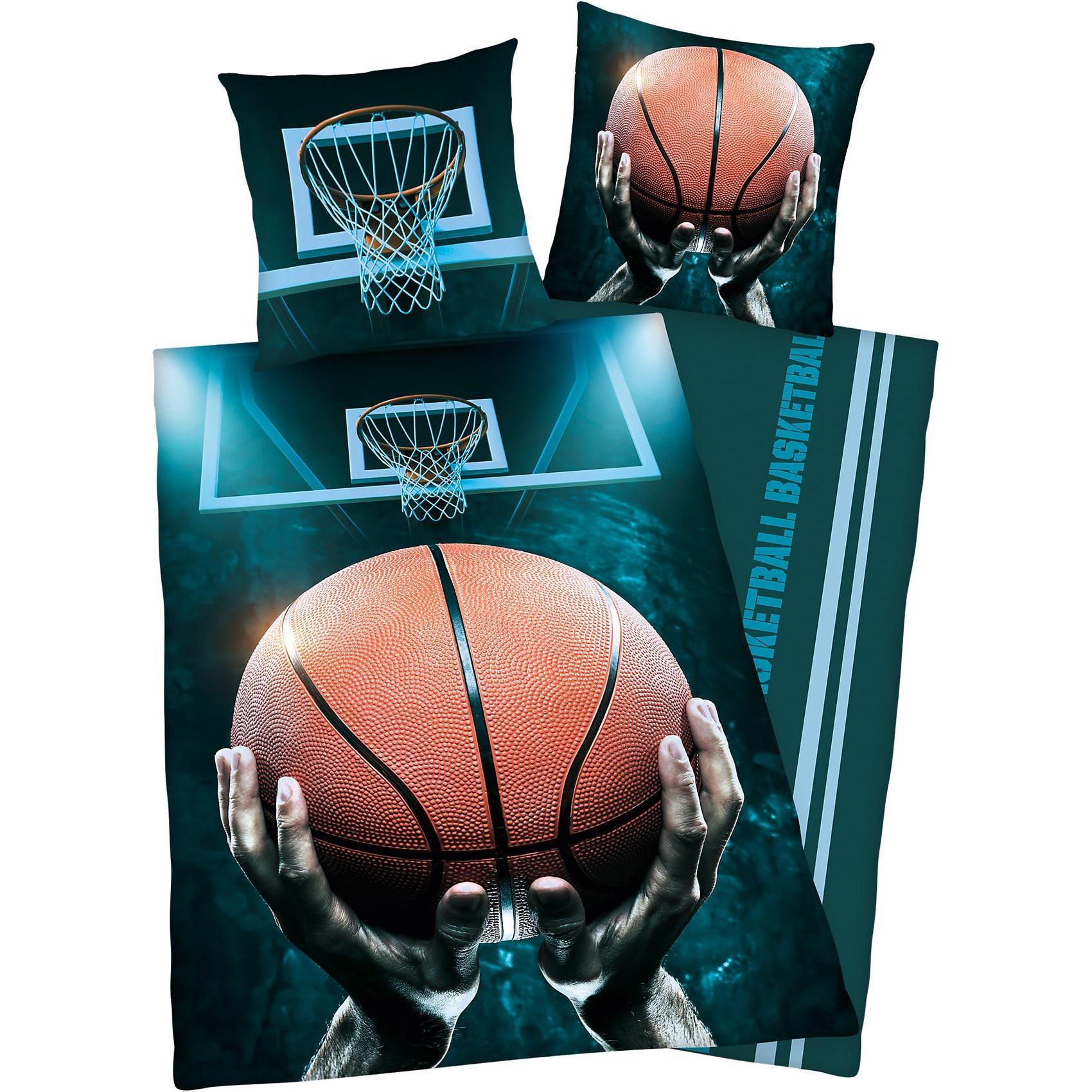 Herding Wende- Kinderbettwäsche Basketball Renforcé 135 x 200 cm