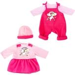 BAYER Kleider für Puppen 33-38 cm: 4-tlg. Set - Latzhose Oberteil Mütze Kleid rosapink