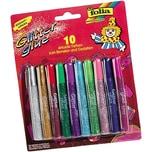 folia 574 Glitter Glue, Klebestifte mit Glitter, je 9,5ml Inhalt, 10er Set, mehrfarbig (90 ml)