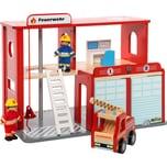 myToys Feuerwehrstation Holz mit Zubehör