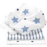 Odenwälder Mullwindeln Sterne und Streifen 3er Pack blau 80 x 80 cm