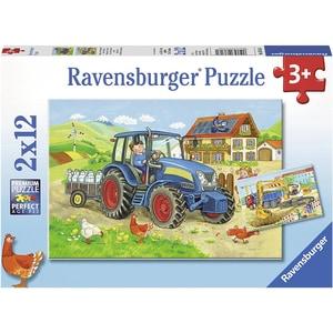 Ravensburger 2er Set Puzzle je 12 Teile 26x18 cm Baustelle und Bauernhof
