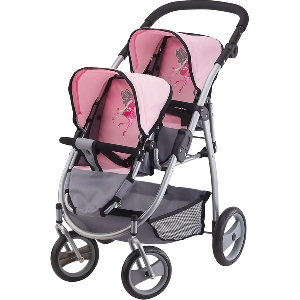 Bayer Zwillingspuppenwagen pinkgrau