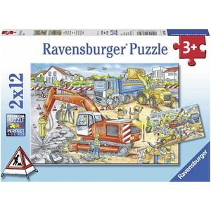 Ravensburger 2er Set Puzzle je 12 Teile 26x18 cm Achtung Straßenbaustelle!