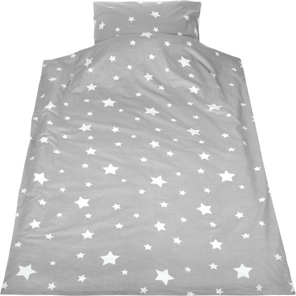 Powerkids Kinderbettwäsche Sternchen Cretonne grau 135 x 200 cm