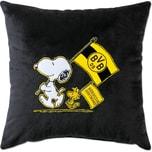 Borussia Dortmund BVB-Snoopy Kuschelkissen schwarz 38x38cm
