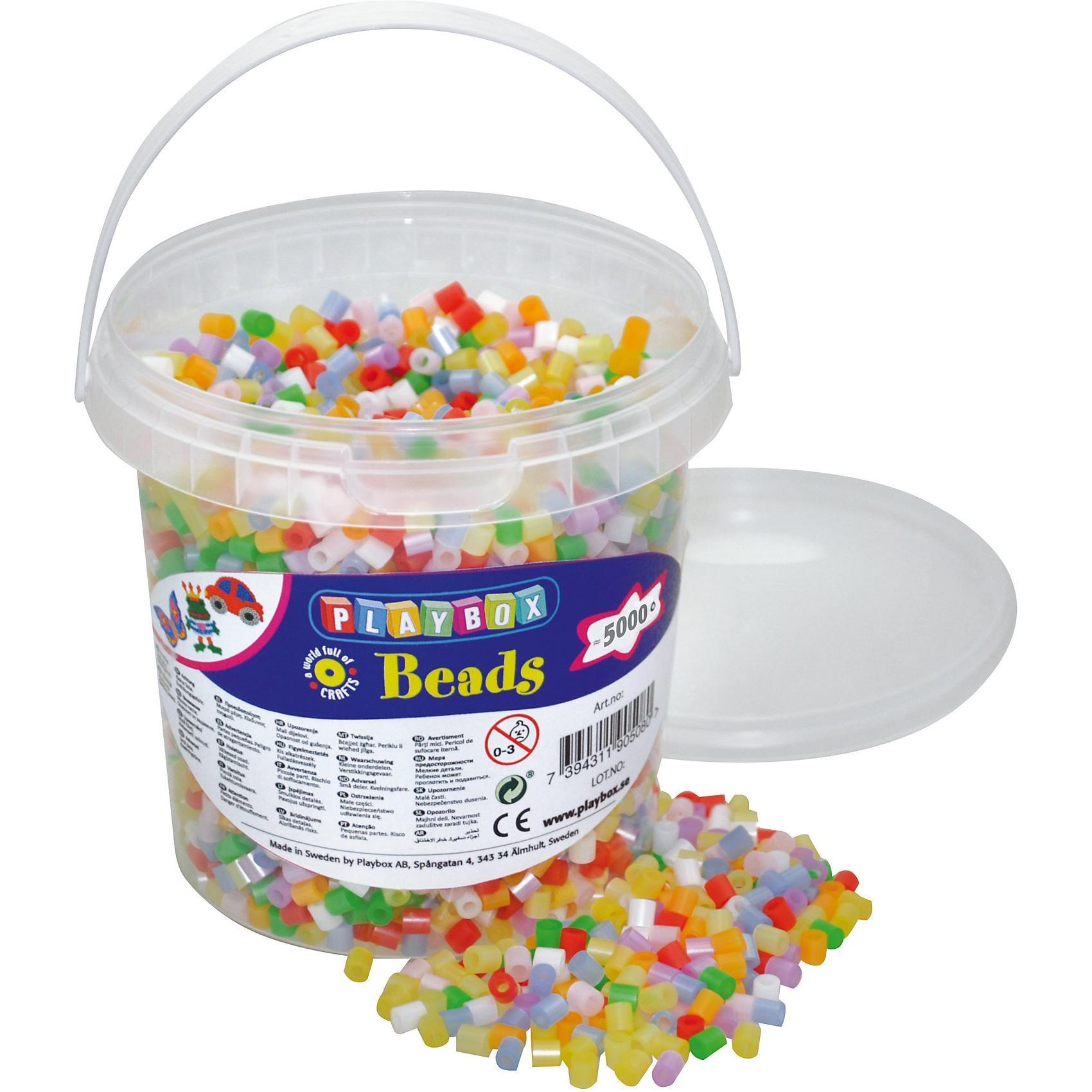 Playbox Bügelperlen im Eimer 5.000 Stück Perlmutt-Mix