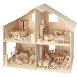 Pebaro Holzbausatz Puppenhaus inkl. Möbel über 40 Teile