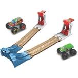 Mattel Hot Wheels Monster Truck Doppel-Rampe inkl. 2 Spielzeugautos Spielset