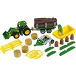 Klein Spielzeug John Deere Traktor mit Anhänger und Pflug