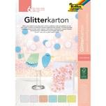 Folia Glitterkarton-Block Pastell 6 Blatt 174 X 245 cm