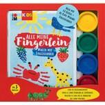Marabu KIDS Malen mit Fingerfarben Buch mit 4 x 35 ml Fingerfarbe