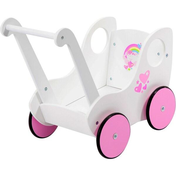 BAYER Holz-Puppenwagen weiß rosa
