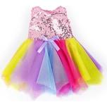 BAYER Pailletten-Kleid für Puppen 40-46 cm rosagelb