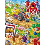Larsen 3er-Set Rahmen-Puzzle 16 Teile 28x18 cm Bauernhof-Kinder Mit Kuh