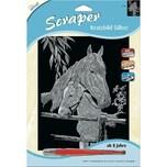 Mammut Spiel und Geschenk Scraper Silber groß Pferd mit Fohlen
