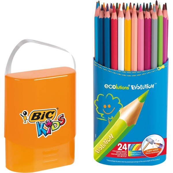 BIC Kids Evolutions Buntstifte in Stiftebox 24 Farben