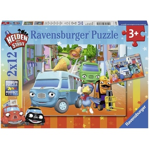 Ravensburger 2er Set Puzzle je 12 Teile 26x18 cm Abenteuer mit den Helden der Stadt