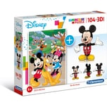 Clementoni Puzzle 104 Teile 3D Modell - Disney Mickey Mouse