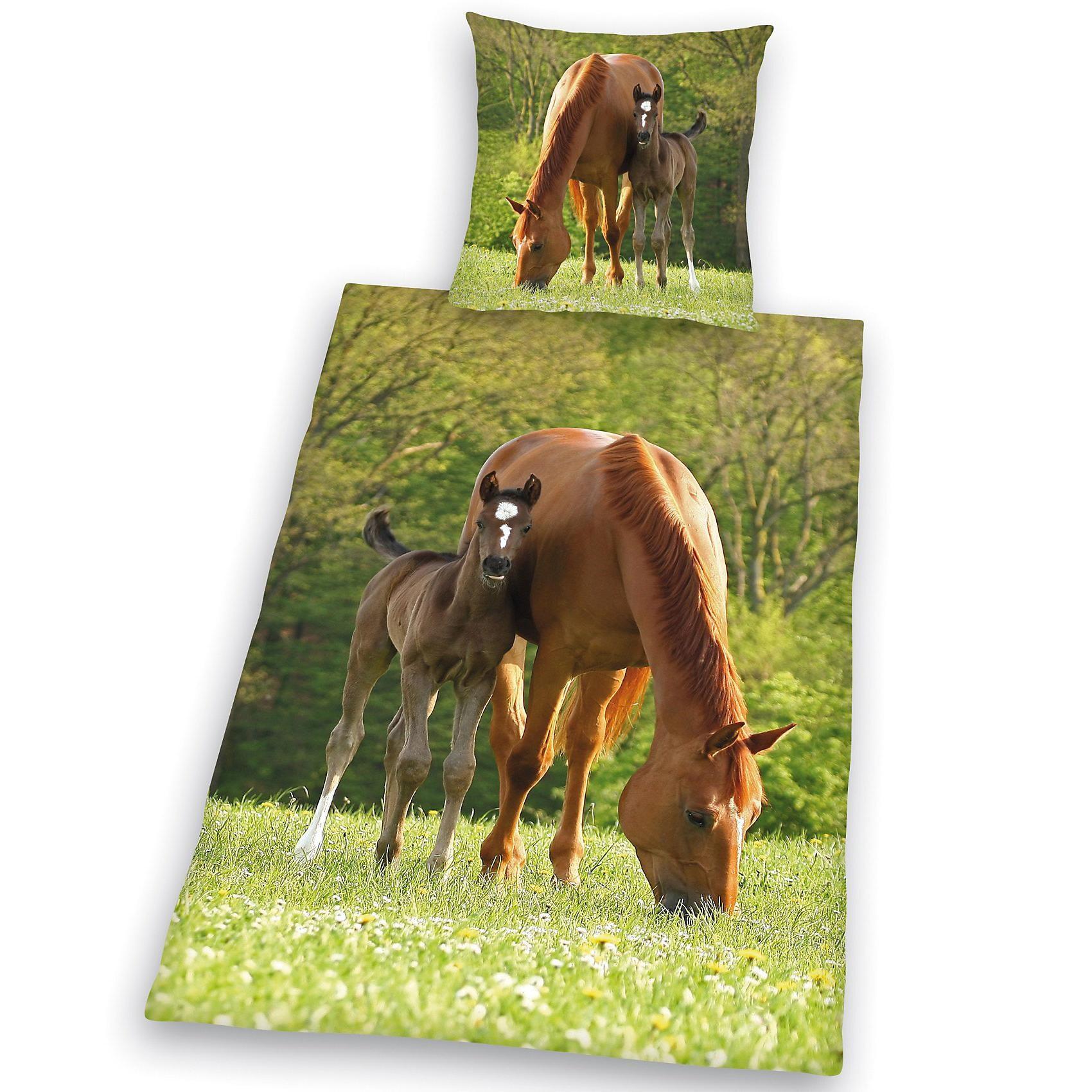 Herding Pferdebettwäsche Kinderbettwäsche Pferd mit Fohlen Linon 135 x 200 cm
