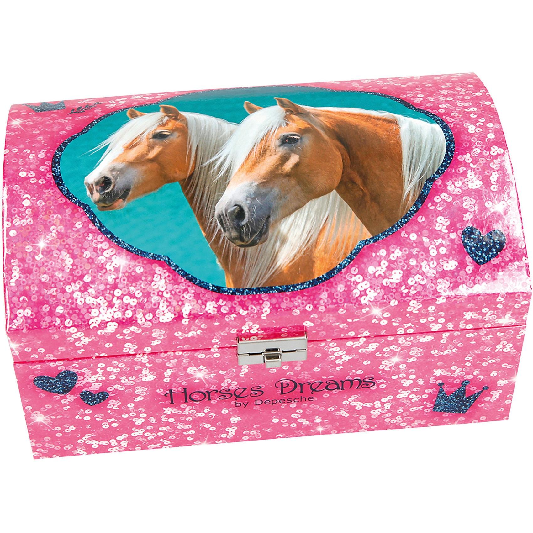 Depesche Horses Dreams Schmuckkästchen mit Geheimfach pink