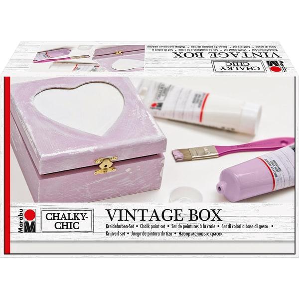 Marabu Kreidefarben-Set Chalky Chic Vintage Holzbox Foto-Herz
