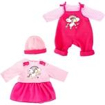 BAYER Kleider für Puppen 42-46 cm: 4-tlg. - Latzhose Oberteil Mütze Kleid rosapink