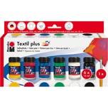 Marabu Starterset Textilfarbe für dunkle Stoffe 6 x 15 ml Pinsel
