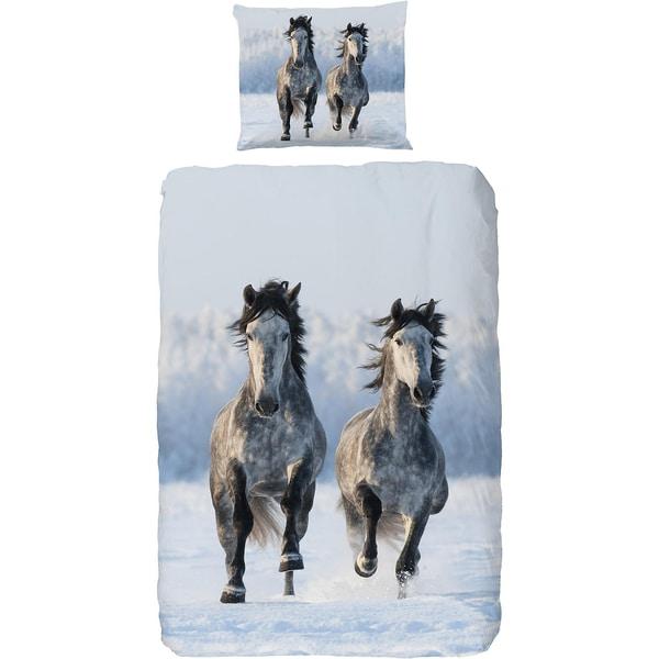 Kinderbettwäsche Schneepferde Renforcé 135 X 200 cm