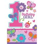 Amscan Einladungskarten Sweet Birthday Girl 1.Geburtstag 6 Stück inkl. Umschläge