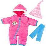BAYER Kleider für Puppen 40-46 cm: 3-tlg. - Schneeoverall Schal Mütze pinkblau